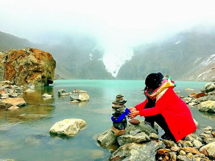 When you pray & thank the Gods & Goddess of the mountains Rock - Object Mountain Water Outdoors People Nature Glacier Chill