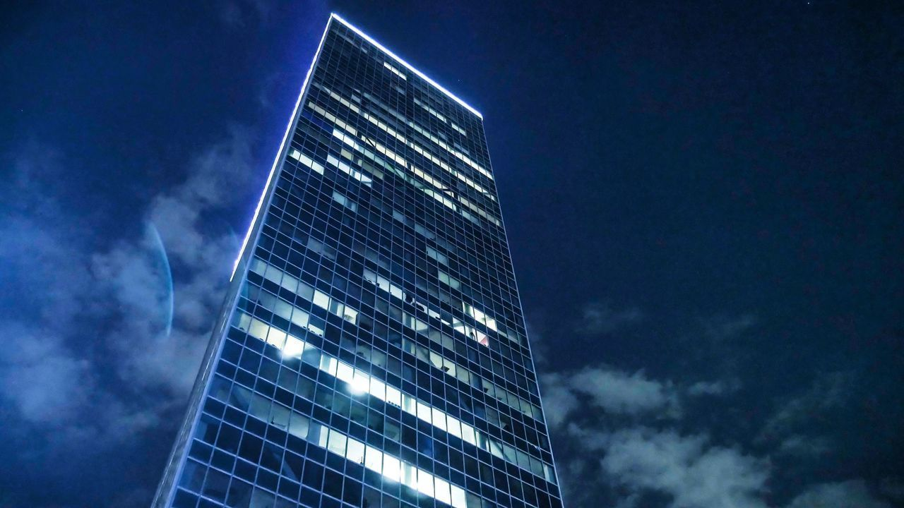 building exterior, sky, built structure, architecture, cloud - sky, city, modern, office building exterior, office, tall - high, building, glass - material, low angle view, nature, skyscraper, no people, reflection, tower, outdoors, night, financial district