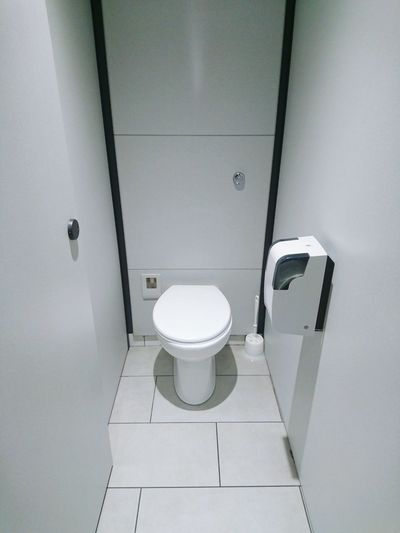 High angle view of toilet bowl in bathroom