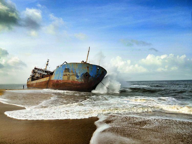 beauty of kerala 😍😊😊 Beach Sea Sand Destruction Nautical Vessel Damaged Abandoned Sinking Crash Nature Water Wave Outdoors Sky No People Day Sunken UnderSea First Eyeem Photo