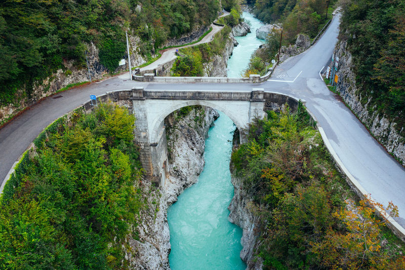 Famous napoleon bridge above soca river in kobarid, slovenia