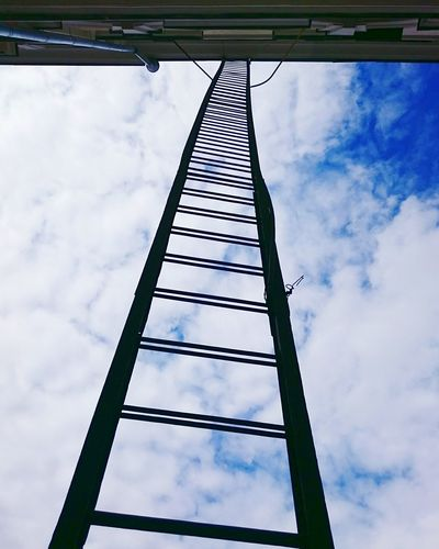 Mobilephotography Streetphotography Lookingup Clouds And Sky Silhouette Ladder Urban Geometry