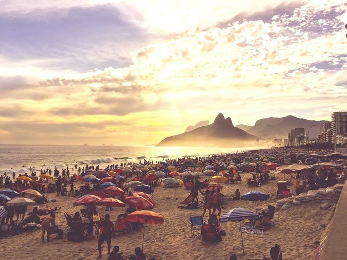 Beach day Rio Sunset Rio De Janeiro, Brazil Rio De Janeiro Rio De Janeiro, Brazil Sky Crowd Large Group Of People Beach Land Sea Group Of People Cloud - Sky Water Real People Sunset Leisure Activity Lifestyles Nature Men Sand Beauty In Nature Outdoors Holiday Vacations Capture Tomorrow
