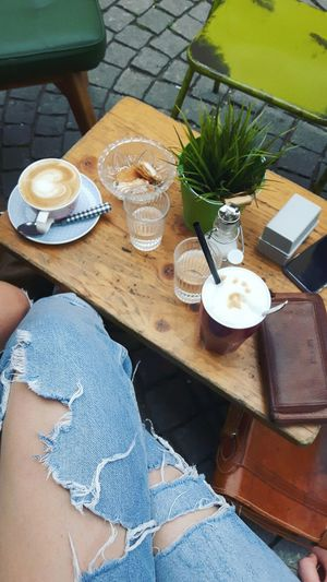 Coffee time ☕ Cafe Table Drink Cappuccino Latte Outside Bar Green Nature Urban Alternative Used Look Used Clothes Photography Picture Girl Like4like Follow Love Old-fashioned Old Vintage Fashion Style Mood