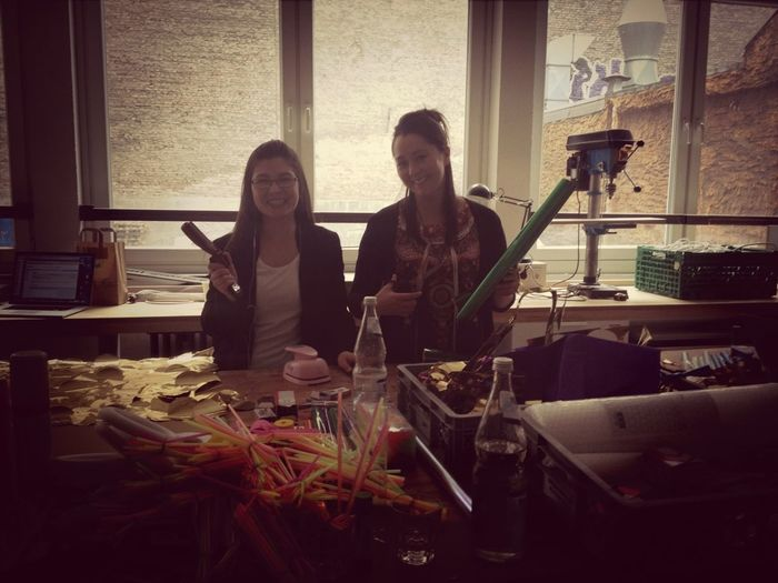 GA Producers @denisephilipp & @jessjerickson Creating Decorations For Spring Block Party