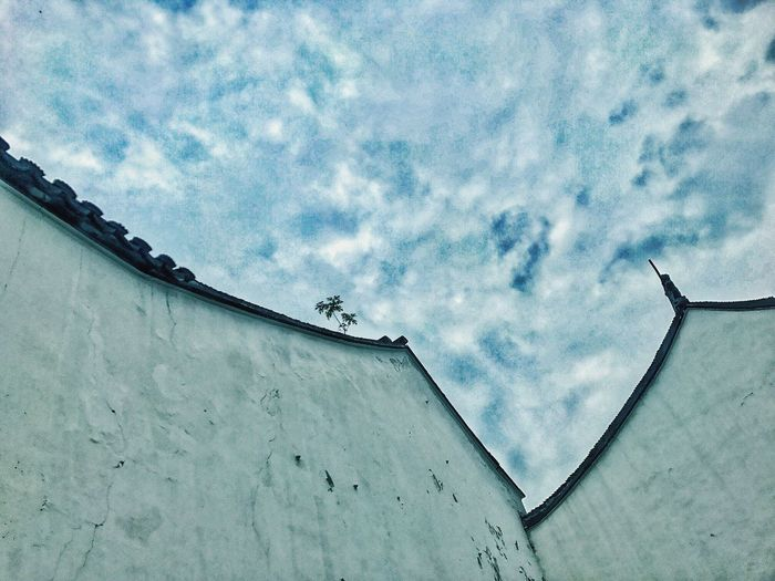 The sky on the Suzhou Museum. Low Angle View Sky Cloud - Sky Architecture Built Structure Building Exterior Outdoors Day No People