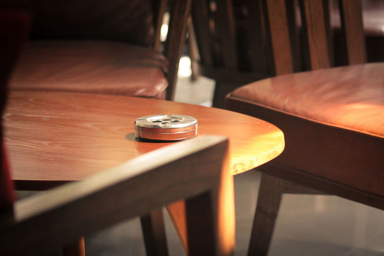 Delicate Sunlight Abstract Lazy Ash Tray Empty Chairs And Empty Tables No People Indoors  Fragile Light