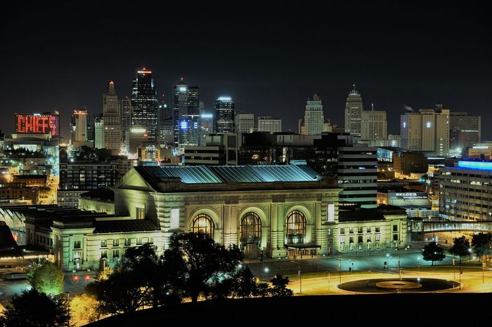 Architecture Building Exterior Built Structure Chiefs Chiefskingdom City Cityscape Illuminated Kansas City Modern Night No People Outdoors Sky Skyscraper Travel Destinations Union Station