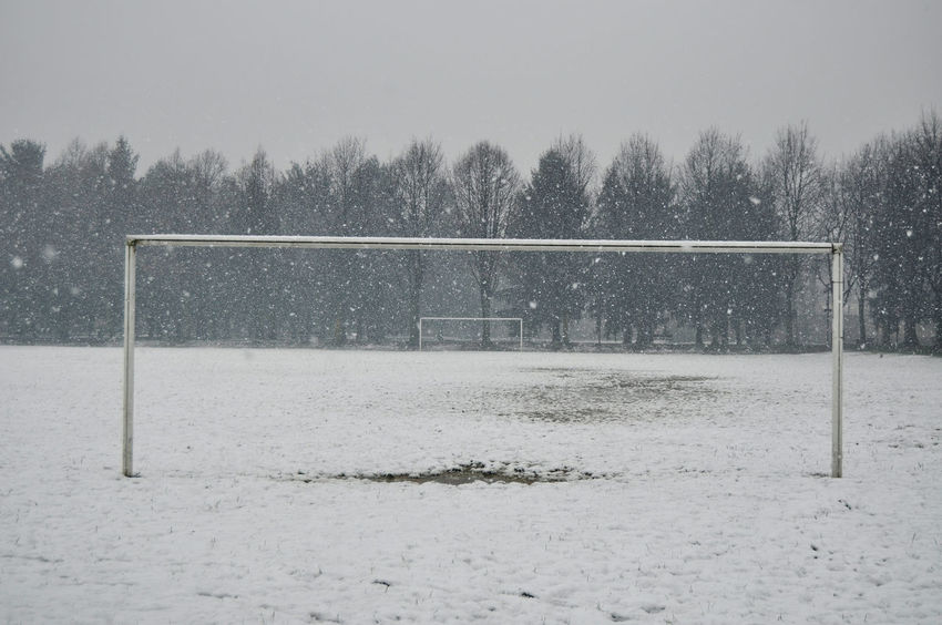 Suspended Football Goal Beauty In Nature Blizzard Cold Temperature Covering Day Extreme Weather Field Football Field Frozen Land Nature No People Outdoors Plant Scenics - Nature Snow Snowflake Snowing Sport Storm Tree White Color Winter