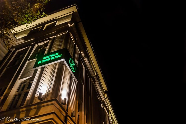 Building Exterior Architecture Built Structure Low Angle View Communication Text Illuminated Night Western Script Green Color City Information Sign Neon Outdoors Sky No People