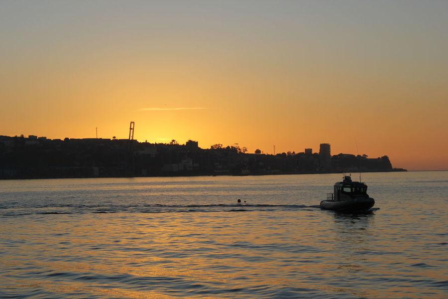 Sunset Boat Returning Home Fisherman
