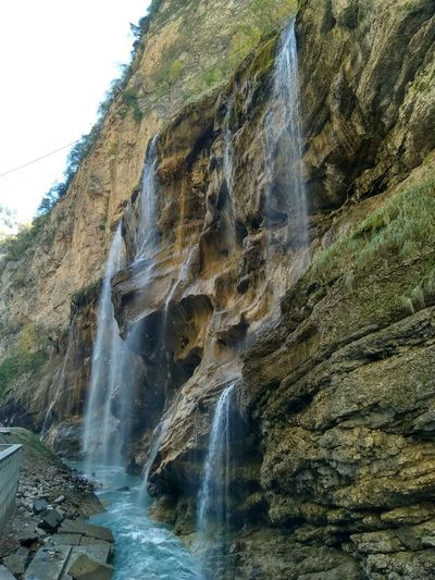 Water Motion Waterfall Power In Nature Sky Rock Formation Geology Rock Canyon Cliff Eroded Physical Geography