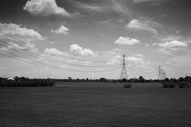 black and white landscape Sky Cloud - Sky Landscape Field Electricity  Environment Cable Land Electricity Pylon Power Line  Tranquility Technology Nature Plant Tranquil Scene Beauty In Nature Scenics - Nature No People Day Grass Power Supply Outdoors Telephone Line