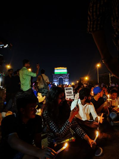 A protest against the Prime Minister of India. EyeEmNewHere Fort Teampixel Pixel2 Light And Shadow EyeEm Best Shots Eye4photography  EyeEm Gallery EyeEm Selects Gameoflights Gameoflife Lamp Contrast Exposure Glory India Gate Incredibleindia Candle City Crowd Illuminated Cityscape Wireless Technology Nightlife Togetherness