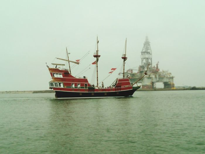Original Experiences The Red Dragon Pirate Ship Foggy Morning Oil Rig In Background On An Island Harbor Island To Port Aransas Ocean Photography Gulf Of Mexico
