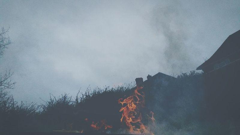 Burning Flames Fire My Back Garden Red Orange Garden Fire Incinerate Smoke