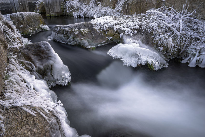 Stream in winter with ice and hoarfrost on the shore Brook Creek Flowing Flowing Water Frost Frosted Frozen Hoarfrost Ice Ice Crystal Motion Blur Nature Tranquil Winter Cold Iced Icy Landscape Outdoors Peaceful Rime Season  Shore Stream Water