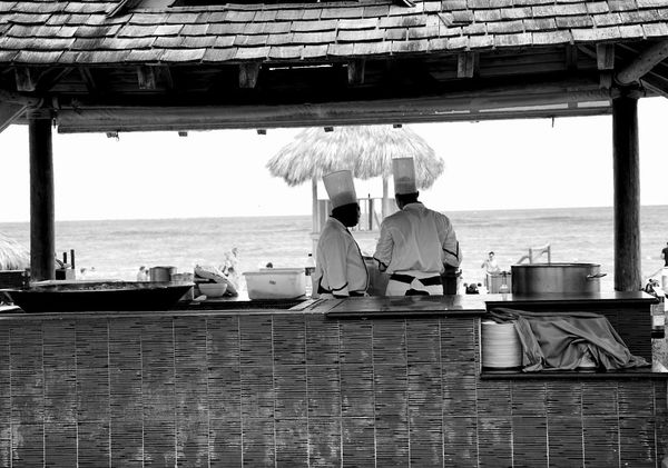 outdoor kitchen Chefs Dominicanrepublic Vacation Monochrome Beach Resort Adults Only Adult People Only Women Sea Two People Men Sitting