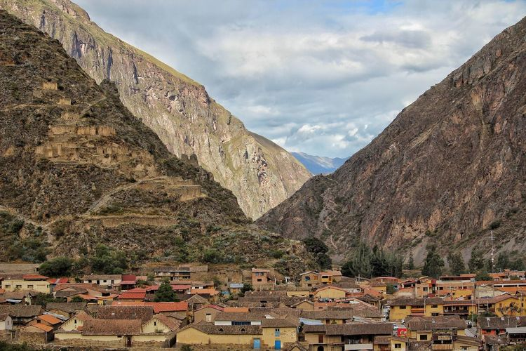 Ollantaytambo Landscape City Mountain Ancient Civilization Tree Flag Rural Scene History Sky Architecture Mountain Range