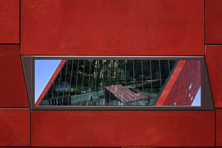 World War 2 Museum Reflections Reflecition In The Reflection Mirror Reflection Red Window Frame Wall - Building Feature No People Architecture Built Structure Glass - Material Window Red Wall