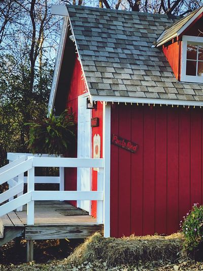 Red house by building