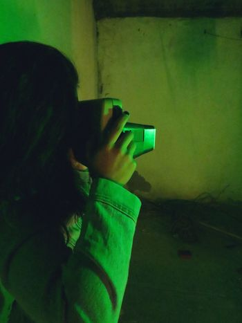 Green Light In Background One Person Photographing Chihuahua, Mexico Shadows & Lights One Young Woman Only Green Light Mexico Leo Sáenz Place Of Heart