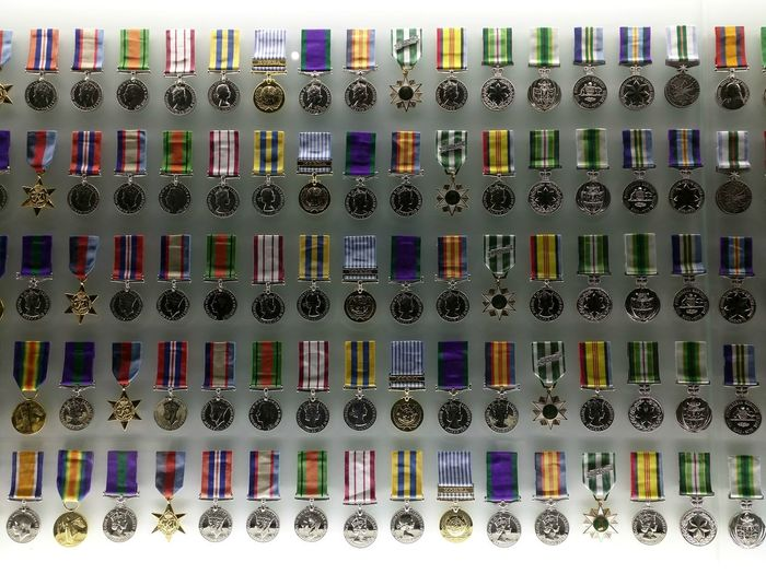 Australia Choice Close-up Day In A Row Indoors  Large Group Of Objects Medals Melbourne Multi Colored No People Shrine Of Remembrance Variation Victoria War Medals White Background