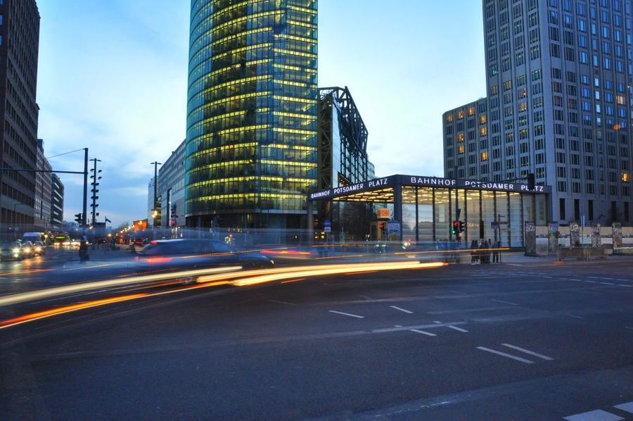 Berlin Berliner Ansichten Potsdamer Platz Dusk In The City Dusk Blue Hour Moving Traffic Photography In Motion Streetphotography Cities At Night