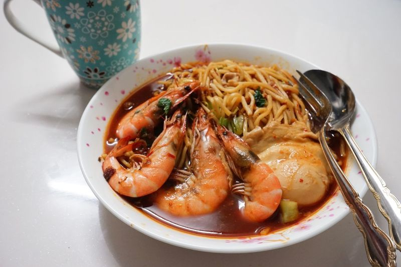 Prawn Noodles Food And Drink Plate Serving Size Food Ready-to-eat Bowl Seafood