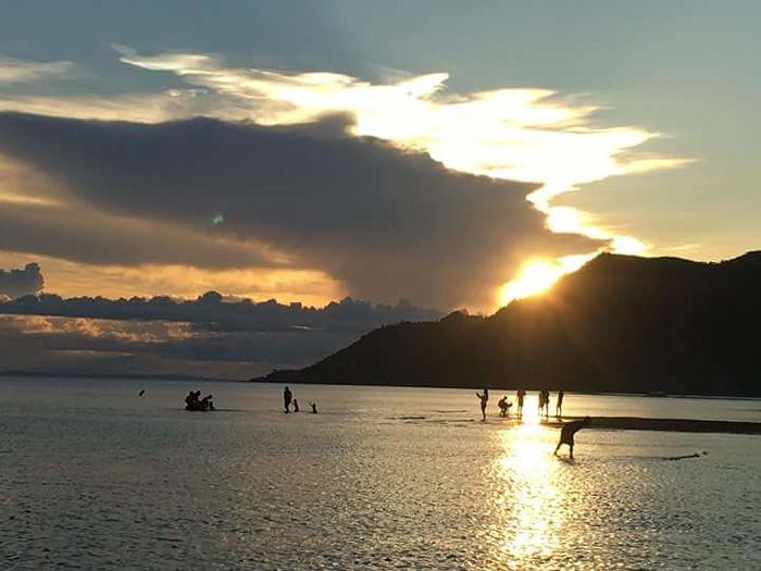 Water Sea Sunset Beach Mountain Silhouette Full Length Sand Sun Sunlight Shore Calm