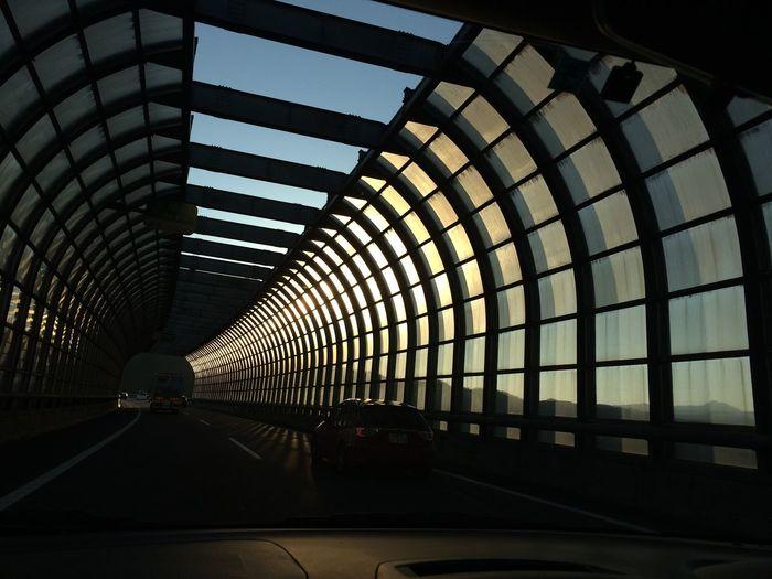 Interior of car against sky