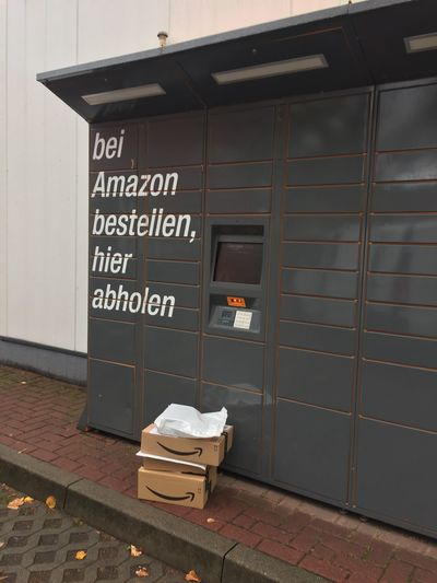 Amazon Locker location. Amazon Locker provides customers with a self-service delivery location to pick up and return packages Information Outdoors Sign Amazon Amazon Locker Delivery Delivery Service Delivering No People Shipping  Consumerism Online Shopping  Onlineshopping Communication Text Information Sign
