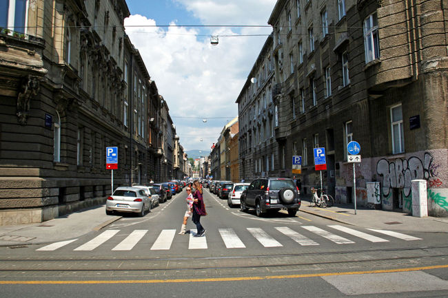 Streets of Zagreb,like Abbey Road,Croatia,EU,1 Architecture City City Life City Street Cloud - Sky Croatia Day Eu Europe Outdoors Parked Road Street Town Traffic Zagreb