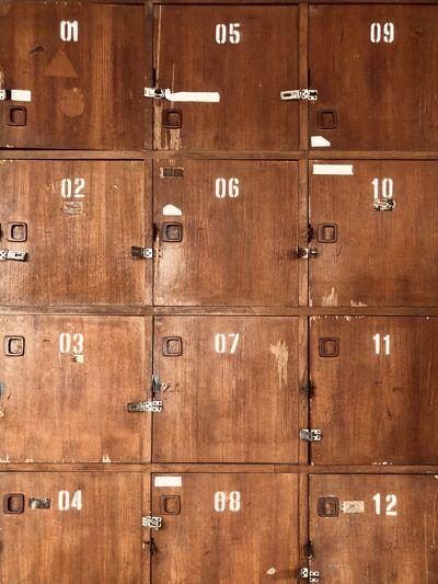 Full frame shot of wooden lockers