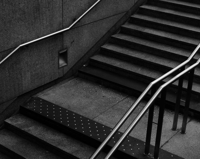 Stairs High Angle View No People Staircase Railing Metal Architecture Day Built Structure Pattern Steps And Staircases City Shadow Empty