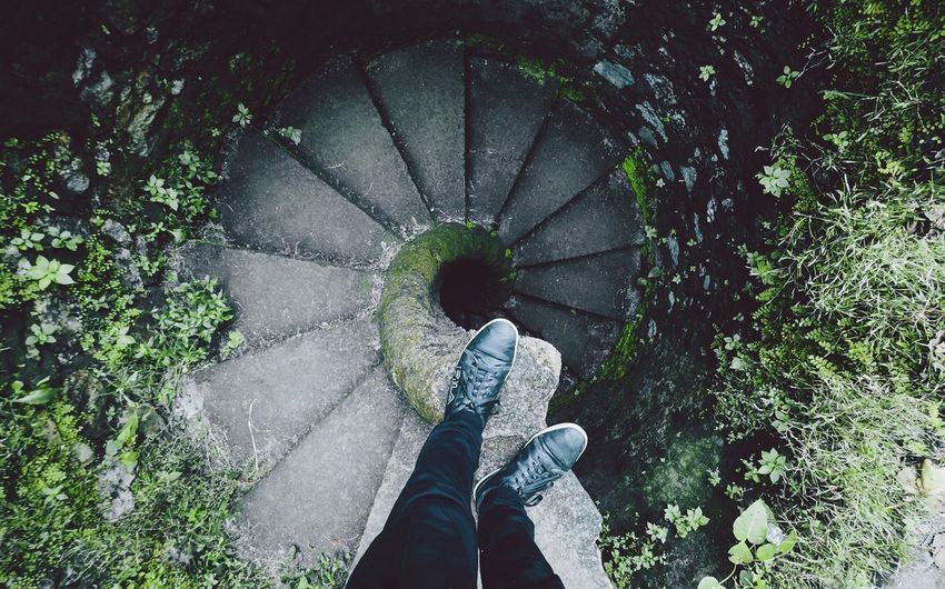 One Person From My Point Of View Fromwhereistand Shoes Spiral Spiral Staircase Spiral Stairs Architecture Architecture_collection Geometric Shape Standing Personal Perspective Low Section High Angle View Outdoors
