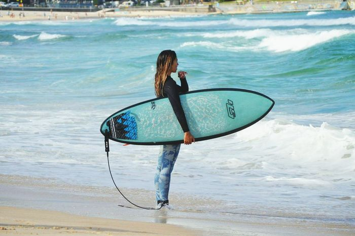 Beach Surfing Wave Sea Balance One Person Surfer Green And Blue Ocean Beach Live For The Story