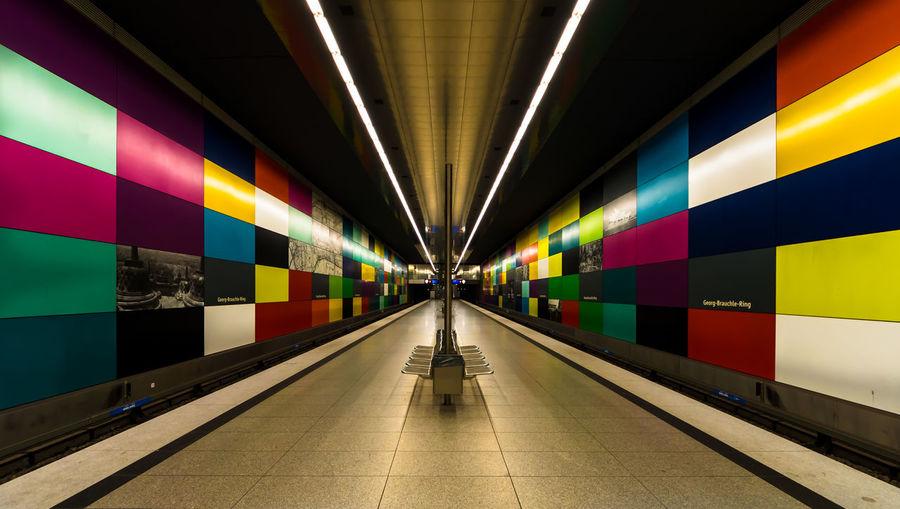 Colorful Germany Illuminated Modern Munich Reflection Subway Station Transportation U-Bahn U-Bahnhof Wide Angle Art Is Everywhere