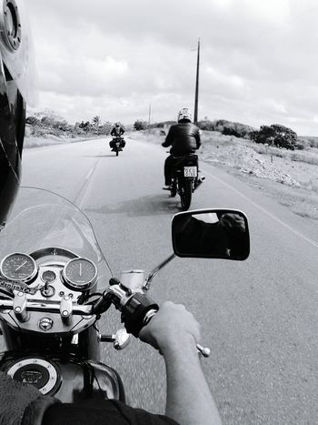 On The Road Road Roadtrip Motorcycles Cloudy Skies Helmet Rearview Friends Custom Motorcycle Motorcycle Club