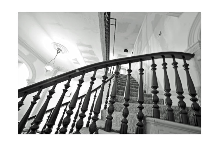 Stairway @ Meek Mansion 2 Cherryland, Ca. Historic Landmark Built 1869 William Meek Bnw_friday_eyeemchallenge 10 Acre Estate Originally 3000 Acres Architecture : Victorian Style: Second Empire, Italian Villa Interior Originally 3,000 Acres Orchards Crops : Cherry, Apricots, Plums, Almonds Mansion Has 3 Floors With A Cupola 7,902 Sq Ft. 23-27 Rooms Basement Gazebo Carriage House Black & White Black And White Monochrome Best Of Stairways Black And White Collection  Black And White Photography