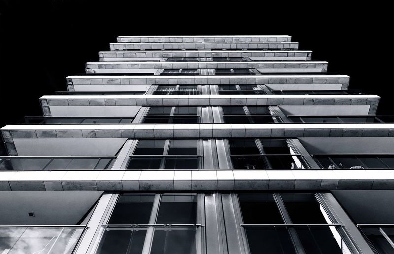 repetition... Architecture Building Exterior Built Structure Building Low Angle View No People City Tall - High Window In A Row Night Stack Modern Black Background