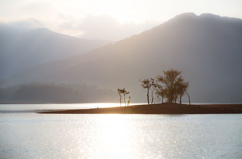Beauty In Nature Day GA Island Lake Lake Chatuge Landscape Landscape_Collection Landscapes Mountain Nature No People Outdoors Sky Sunlight Sunrays Sunset Tree Water