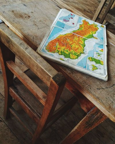 Old School House Atlas Map Book Wooden Desk Geography Lesson Wooden Chair The Color Of School
