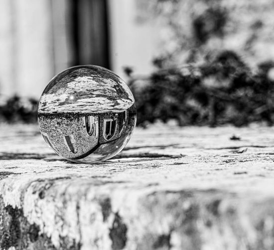 Close-up of ball on glass