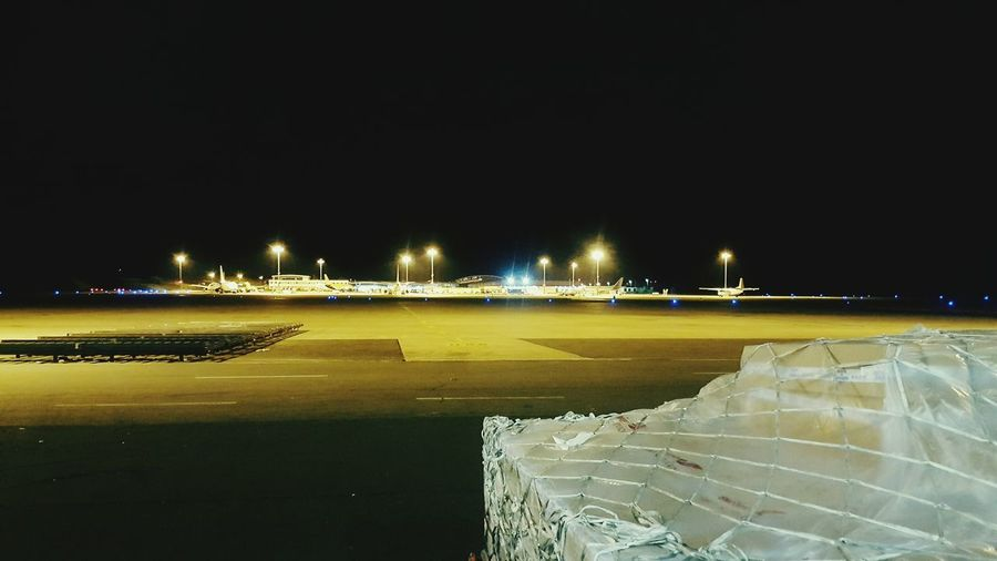Night Workers Area Illuminated No People Outdoors Sky Airport Terminal
