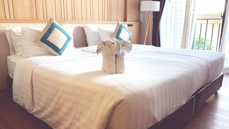 Warm welcome by handmade elephant from towel on clean and neat bed in hotel room. Handmade Craft Elephant Calf Clean Hotel Welcome EyeEm Selects Furniture Indoors  Bed Domestic Room Bedroom Pillow Hotel Home Interior No People
