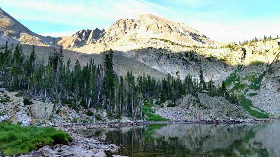 Scenic View Of Lake Agnes Against Mountains