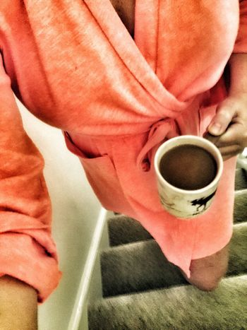 Morning coffee Food And Drink Drink Refreshment Freshness Holding Close-up Pink Color Person Dressing Gown Robe Mug Upstairs To Bed IGo to boyfriend To Partner to husband Freshon EyeEm