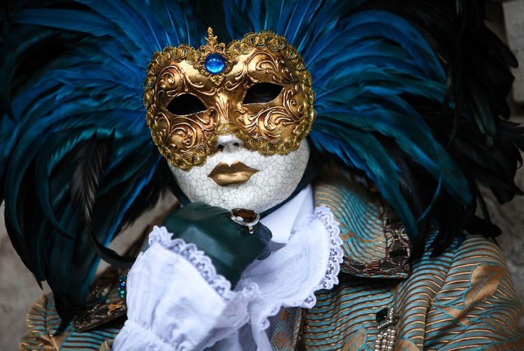 Carnival Venezia Venice, Italy Blue Carnival - Celebration Event Celebration Clothing Costume Day Disguise Festival Front View Gondola - Traditional Boat Mask Mask - Disguise Mystery Obscured Face One Person Real People Unrecognizable Person Venetian Mask Venezia Italia