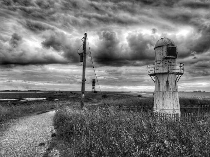 lighthouse Storm Cloud Wooden Post Dramatic Sky Sky Cloud - Sky Barbed Wire Lighthouse